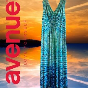 Avenue Double V-Neck Psychedelic Maxi Dress